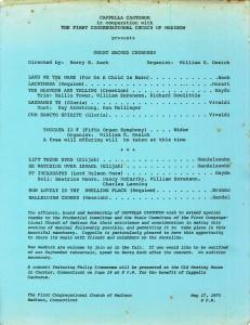 Great Sacred Choruses, May 17, 1975, program