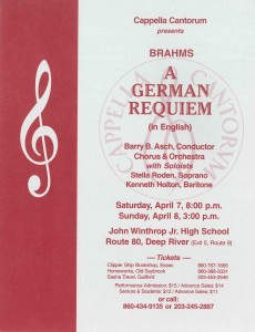 MasterWorks Chorus, Brahms A German Requiem (in English), April 7 & 8, 2001 poster