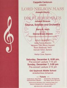 MasterWorks Chorus, Haydn Lord Nelson Mass & Strauss Die Fledermaus, December 6 & 7, 2003