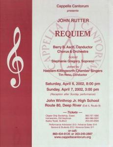MasterWorks Chorus, Rutter Requiem, April 6 & 7, 2002