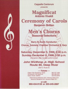 MasterWorks Chorus, Vivaldi Magnificat & Britten Ceremony of Carols, December 5 & 6, 1998