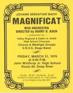 Bach MAGNIFICAT, March 31, 1978