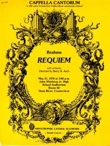Brahms Requiem, May 21, 1978, benefit concert for ALS, program cover