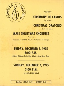 Britten Ceremony of Carols & Saint-Saens Christmas Oratorio, December 5 & 7, 1975
