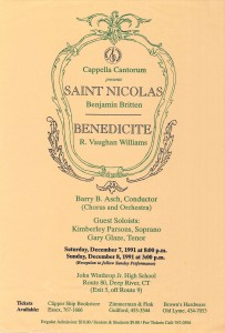 Britten Saint Nicolas & Vaughan Williams Benedicite, December 7 & 8, 1991