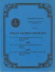 Great Sacred Choruses, May 15 & 22, 1977, poster