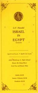 Handel ISRAEL IN EGYPT, April 3 & 4, 1982