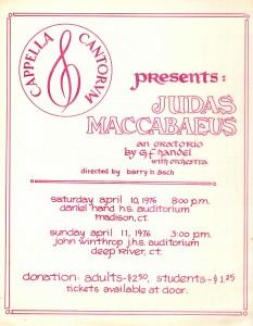 Handel Judas Maccabaeus, April 10 & 11, 1976, poster