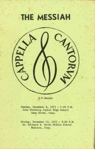 Handel Messiah, December 9 & 10, 1973, program front cover