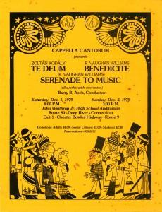 Kodaly TE DEUM & Vaugh Williams BENEDICITE, SERENADE TO MUSIC, December 1 & 2, 1979