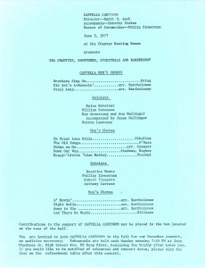 Men's Chorus Debut, June 5, 1977, program