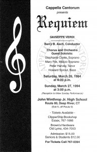 Verdi Requiem 1994, March 26 & 27, 1994, poster