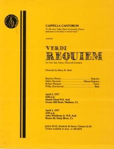 Verdi Requiem, April 2 & 3, 1977, poster